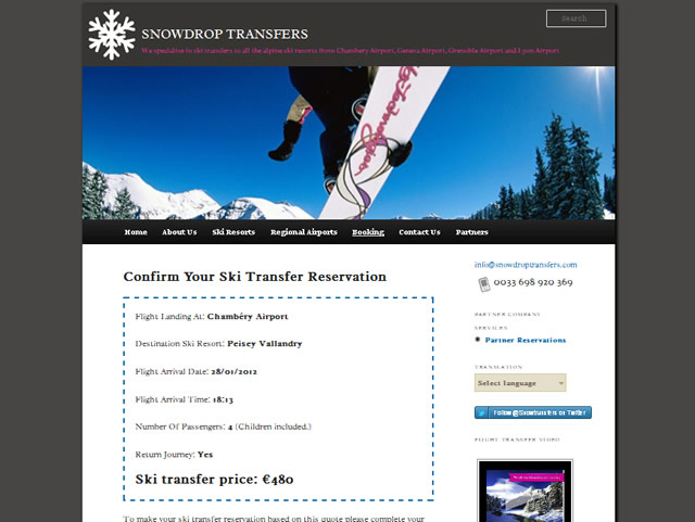 ski transfer quotes feature